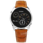 CITIZEN 星辰表 / AO3030-08E / 簡約商務 雙時間顯示 日本機芯 壓紋小牛皮手錶 黑x銀框x咖啡 44mm