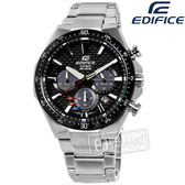 EDIFICE CASIO / EQS-800CDB-1A / 卡西歐太陽能碳纖維3D計時碼錶日期防水不鏽鋼手錶 黑色 43mm