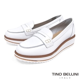 Tino Bellini 義大利進口優雅英倫復古風楔型莫卡辛鞋 _ 白 A83013 歐洲進口款