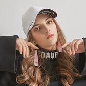 帽子女黑白色休閒字母百搭潮人棒球帽韓版街頭時尚純色鴨舌帽 至簡元素