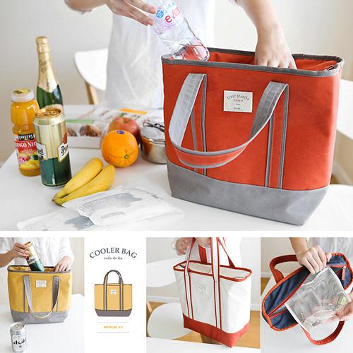 【韓國創意品牌 invite.L】M號 保冷袋 保溫袋 保鮮袋 餐盒袋 便當袋 手提包 防潑水 繽紛六色可選擇