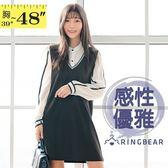 連身洋裝--OL撞色條紋雪紡Y字襯衫羅紋背心兩件式長袖連衣裙(黑XL-3L)-A350[情人節送禮推薦]