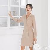 雪紡洋裝 2021新款秋季V領長袖連身裙女法式雪紡襯衫裙赫本風小黑裙子 小天使