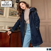 《KG0673》韓系連帽長版厚鋪棉保暖簡約水洗牛仔外套--適 XL~6L OrangeBear
