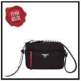 PRADA皮革鉚釘尼龍斜背包/紅黑1BC167全新商品