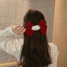 髮夾 紅色蝴蝶結頭飾珍珠髪夾韓國網紅2021年新款后腦勺頂夾髪卡髪飾【快速出貨八折下殺】