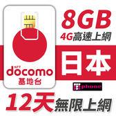 【TPHONE上網專家】日本高速上網卡 前8GB支援4G上網 使用DOCOMO基地台 12天無限上網