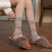 3雙裝 復古花紋中筒襪日系純棉小腿襪花朵堆堆襪lolita襪子女潮【貼身日記】
