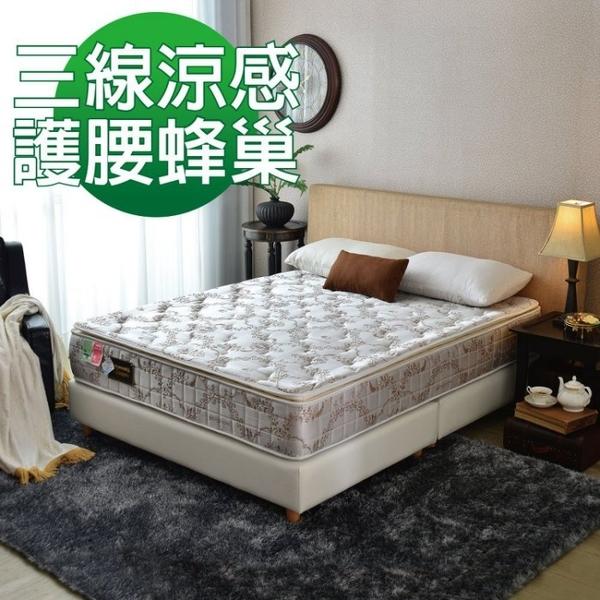 床墊 獨立筒-Ally愛麗-正三線-智慧涼感-抗菌蜂巢獨立筒床-雙人5尺-$6999-新竹以北免運