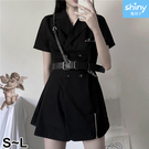 【V9268】shiny藍格子-復古暗黑系.少女雙排扣開叉短袖連衣裙