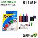 【墨水填充包】CANON 811 30cc 彩色 各一瓶 內附工具 適用雙匣