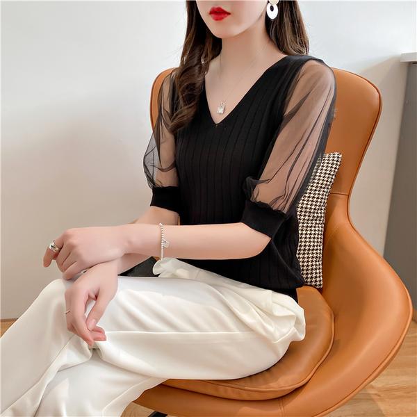 VK旗艦店 韓國風針織衫透視拼接V領性感低胸短袖上衣