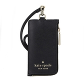 【KATE SPADE】Staci防刮皮革拉鍊卡夾證件夾套(黑色)
