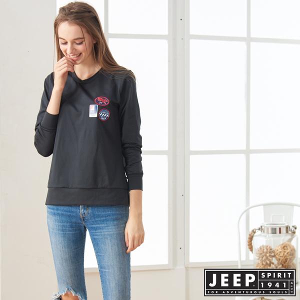 【JEEP】女裝 HiCool 吸濕排汗側邊開岔運動長袖TEE (黑色)