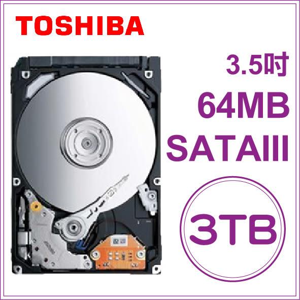 TOSHIBA 3TB 3.5吋 7200 RPM/64M 內接式硬碟 (DT01ACA300)