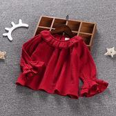 女童裝新款春裝長袖t恤寶寶荷葉領打底衫