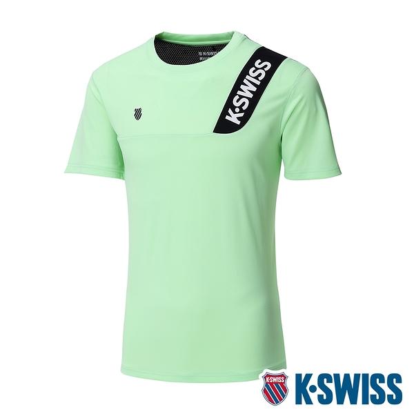 K-SWISS Contrast Panel Tee涼感排汗T恤-女-薄荷綠