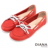 DIANA 經典復刻--穿線鞋帶舒適真皮平底鞋-紅★特價商品恕不能換貨★