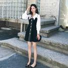 VK精品服飾 韓系襯衫拼接黑白修身顯瘦氣...