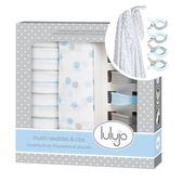 【愛吾兒】加拿大lulujo 禮盒系列-嬰兒包巾雙入組 粉藍 精美盒裝彌月禮最佳首選
