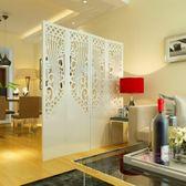 新年鉅惠 屏風屏風隔斷玄關時尚客廳白色雕花折疊屏風店鋪櫥窗背景簍空xw