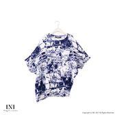 【INI】有型曲線、摺衣不規則斜擺寬版上衣.深藍色