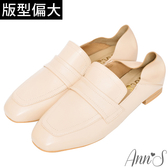 Ann'S會呼吸的舒適-小羊皮全真皮兩穿平底穆勒紳士鞋-杏