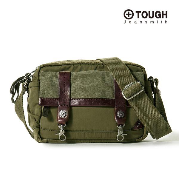 【TOUGH】鐵釦造型皮革拼接棉布斜背包(軍綠)