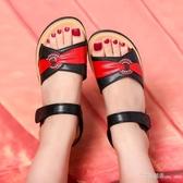 涼鞋媽媽平底涼鞋女夏季軟底舒適媽媽中老年坡跟涼鞋女 【快速出貨】