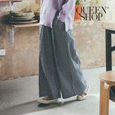 Queen Shop【04110152 】格紋磨毛前打摺鬆緊寬褲*現+預*