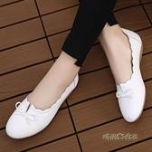 小白鞋女真皮軟底春款百搭牛筋底平底媽媽護士單鞋舒適防滑豆豆鞋