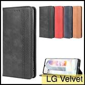 【萌萌噠】LG Velvet (6.8吋) 復古紋商務款 錢包式側翻皮套 可插卡磁吸 全包軟殼 手機殼 手機套