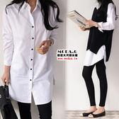 *MoDa.Q中大尺碼*【Y6368】韓版氣質黑釦口袋造型百搭白襯衫