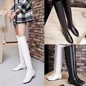 冬長靴女百搭直筒彈力皮靴高筒白色黑色過膝靴子瘦腿尖頭平底低跟【韓衣舍】