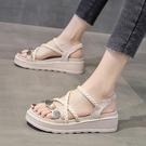 坡跟涼鞋 涼鞋女夏季新款韓版仙女風百搭網紅超火時尚厚底羅馬女鞋