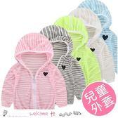兒童愛心刺繡超薄透氣條紋防曬衣