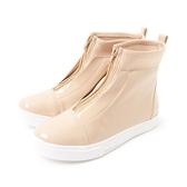 Petite Jolie  經典拼接厚底靴-粉膚色