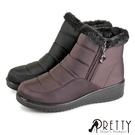 BA-28990 女款短靴/雪靴 防潑水暖心內刷毛拉鍊小坡跟短靴/雪靴【PRETTY】
