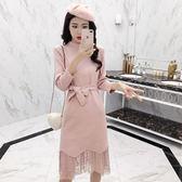 洋裝 新款韓版時尚兩件套女中長款長袖針織連身裙蕾絲半身裙