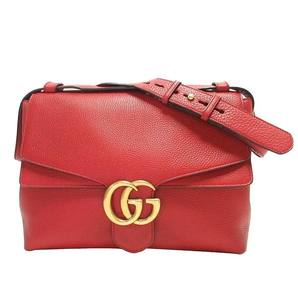GUCCI 古馳 紅色牛皮復古GG金釦肩背斜背大包 GG Marmont Top Handle Bag【BRAND OFF】