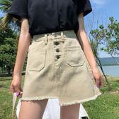 8折免運 牛仔短裙 時尚短裙高腰卡色不規則牛仔裙新款夏季新款紐扣A字半身裙女