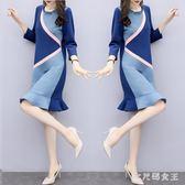 針織洋裝 新款女裝2019緊身針織打底修身中長款長袖裙子 df12687【大尺碼女王】