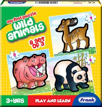 【Frank 全腦開發】Wild Animals 野生動物 盒裝拼圖(4片/5片/6片)
