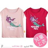 女童美人魚圖案短袖上衣 T恤 120-160