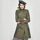 風衣外套-中長款變色防潑水雙排扣繫帶女大衣3色74bc11【巴黎精品】