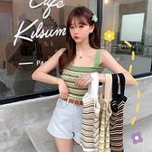 夏季2021新款韓版條紋針織杉修身內搭無袖打底吊帶背心女上衣外穿 快速出貨
