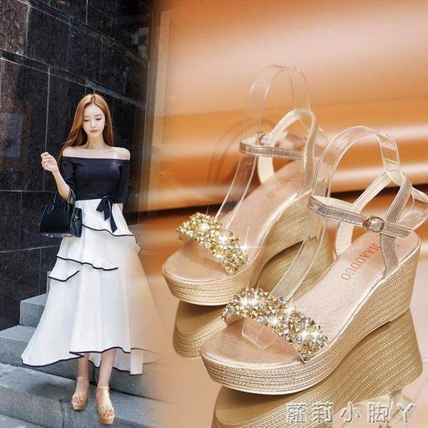 楔型鞋夏季新款高跟厚底楔形涼鞋女防水台平底水鉆超高跟厚底鬆糕女鞋子 蘿莉小腳丫