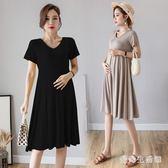 孕婦洋裝2019夏季韓版新款短袖中長款寬鬆時尚裙子 QX4343 『愛尚生活館』