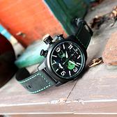 elegantsis / ELJT48MQS-OG01LC / 聖誕特別限定款 義大利真牛皮錶帶 黑綠色 46mm