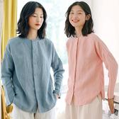 襯衫-砂洗純亞麻長袖寬鬆/設計家 S9841
